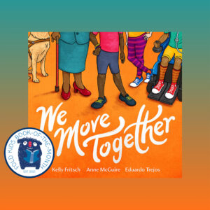 Cover of We Move Together book with Fold Kids book of the month stamp placed in the left hand corner