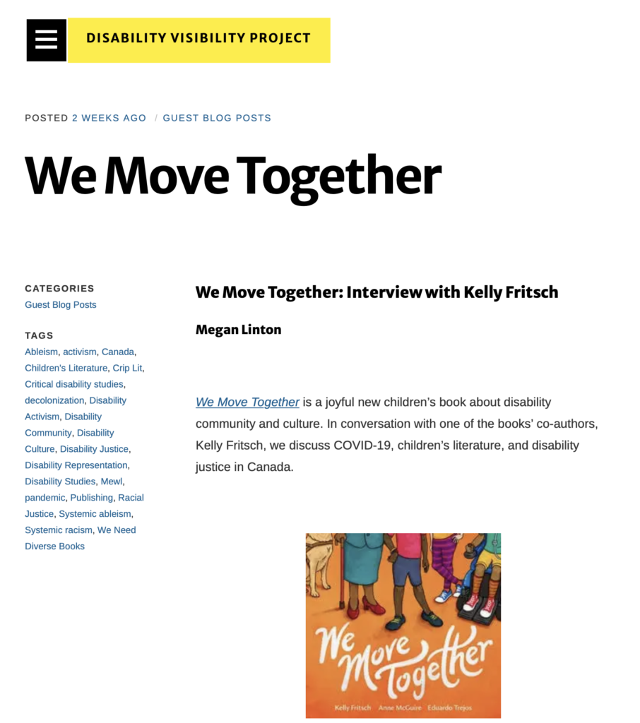 """Screenshot of Disability Visibility Project's news article. Headline reads: """"We Move Together: Interview with Kelly Fritsch"""""""